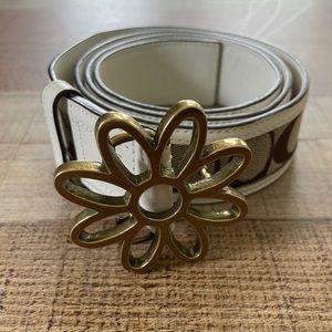 Coach Brass Flower Leather Logo Belt